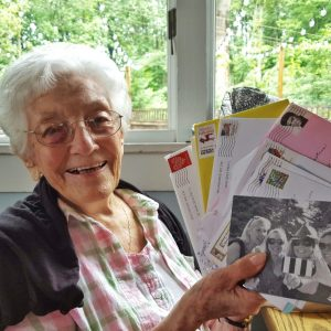 Savoring the 99th birthday cards.